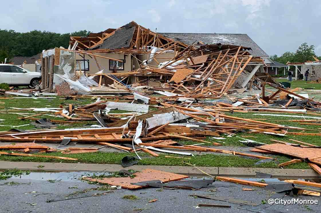tornado damage in Monroe, Louisiana